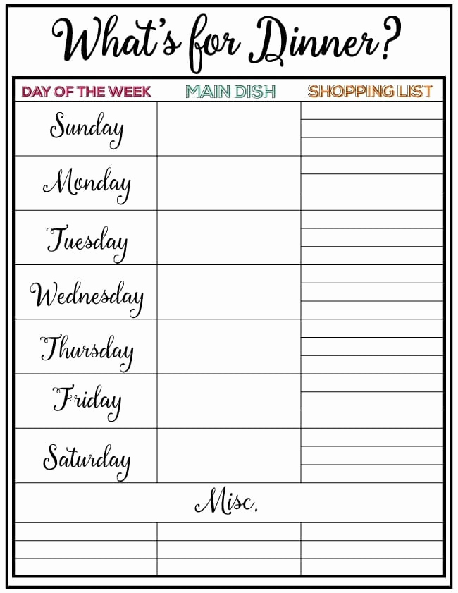 Weekly Meal Plan Template Fresh Weekly Meal Planner Week 7