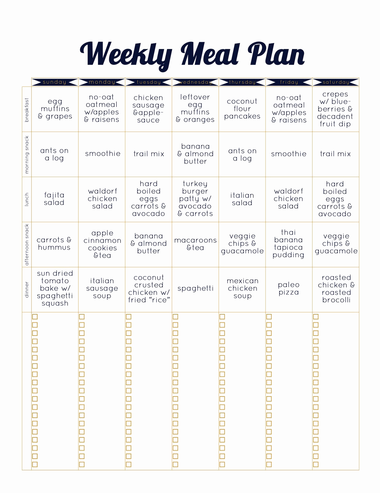 Weekly Meal Plan Template Lovely Always Underfoot Paleo Template Weekly Meal Plan
