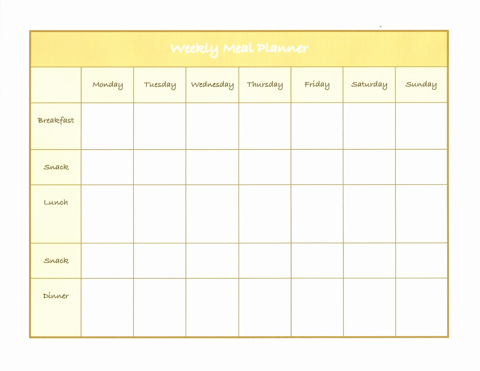 Weekly Meal Plan Template Unique Weekly Menu Template