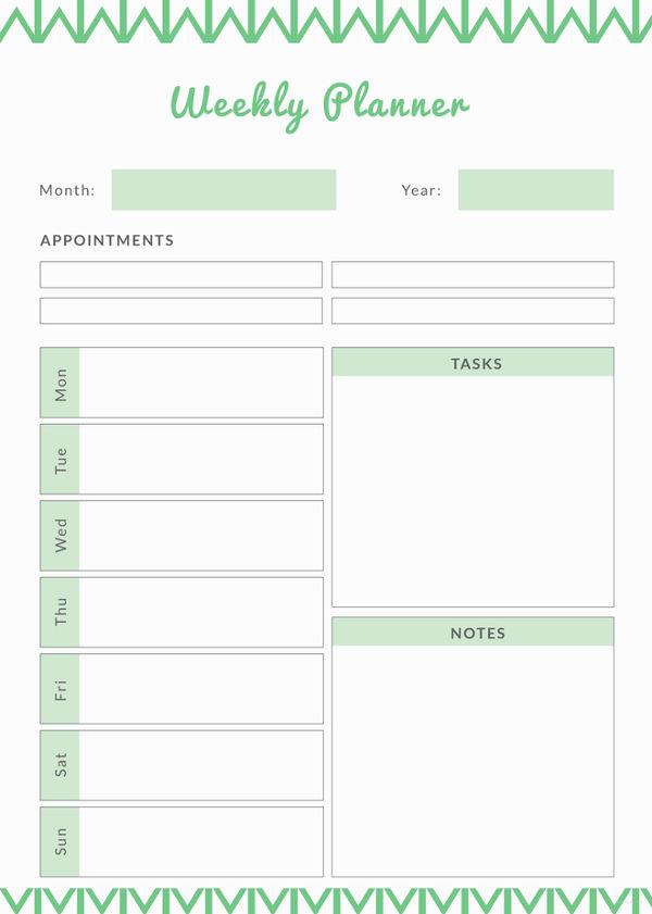 Weekly Planner Template Pdf Elegant Weekly Meal Planner Template 9 Free Pdf Word Documents