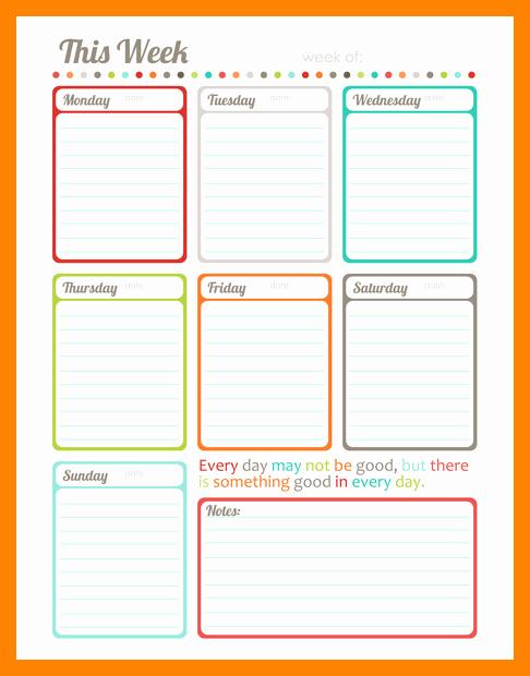 Weekly Planner Template Pdf Inspirational Weekly Schedule Template Takvim Kalender Hd