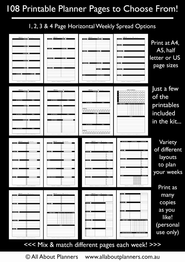 Weekly Planner Template Pdf Lovely the Create Your Own Planner Kit 108 Printable Pages to