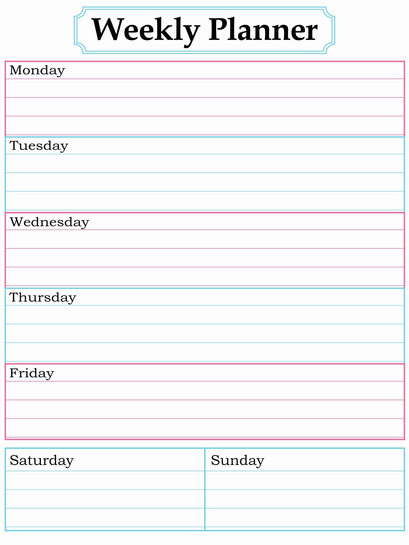 Weekly Planner Template Pdf Luxury Weekly Planner Printable Nice Simple Clean Lines