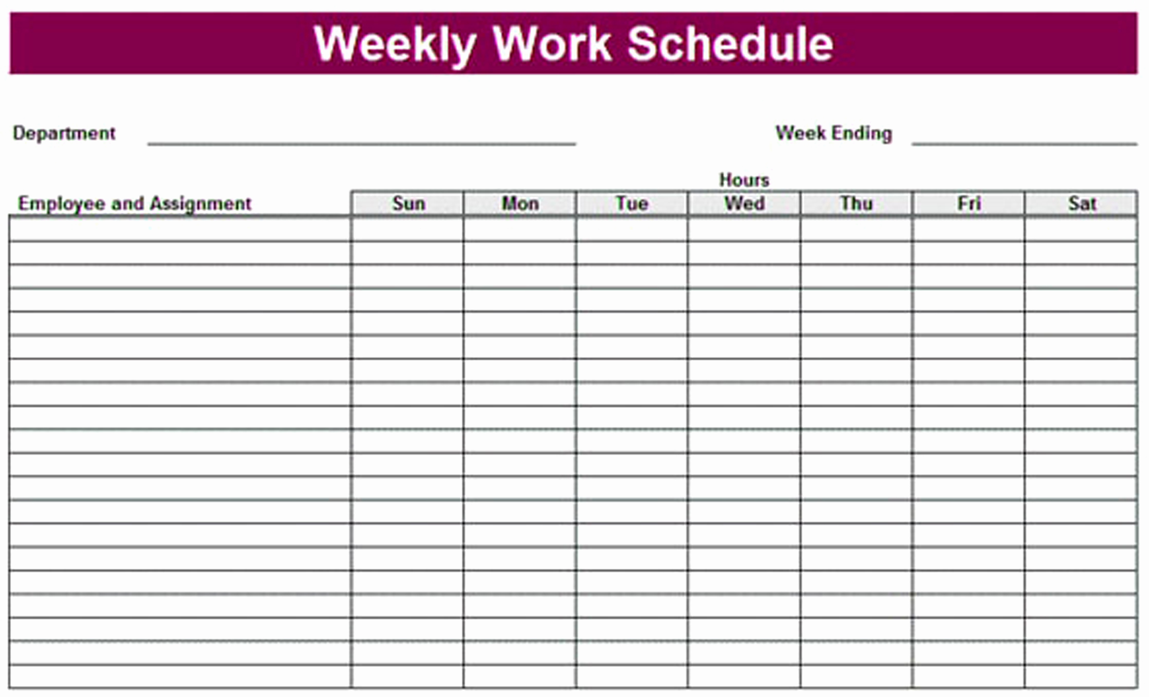 Weekly Schedule Template Printable Awesome Printable Weekly Schedule Template & Excel Planner