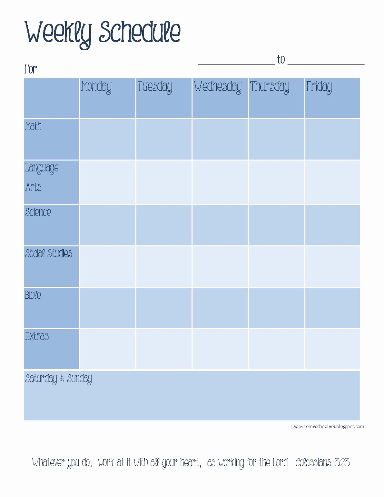 Weekly Schedule Template Printable Best Of the Happy Homeschooler Our Homeschool Planner A Free