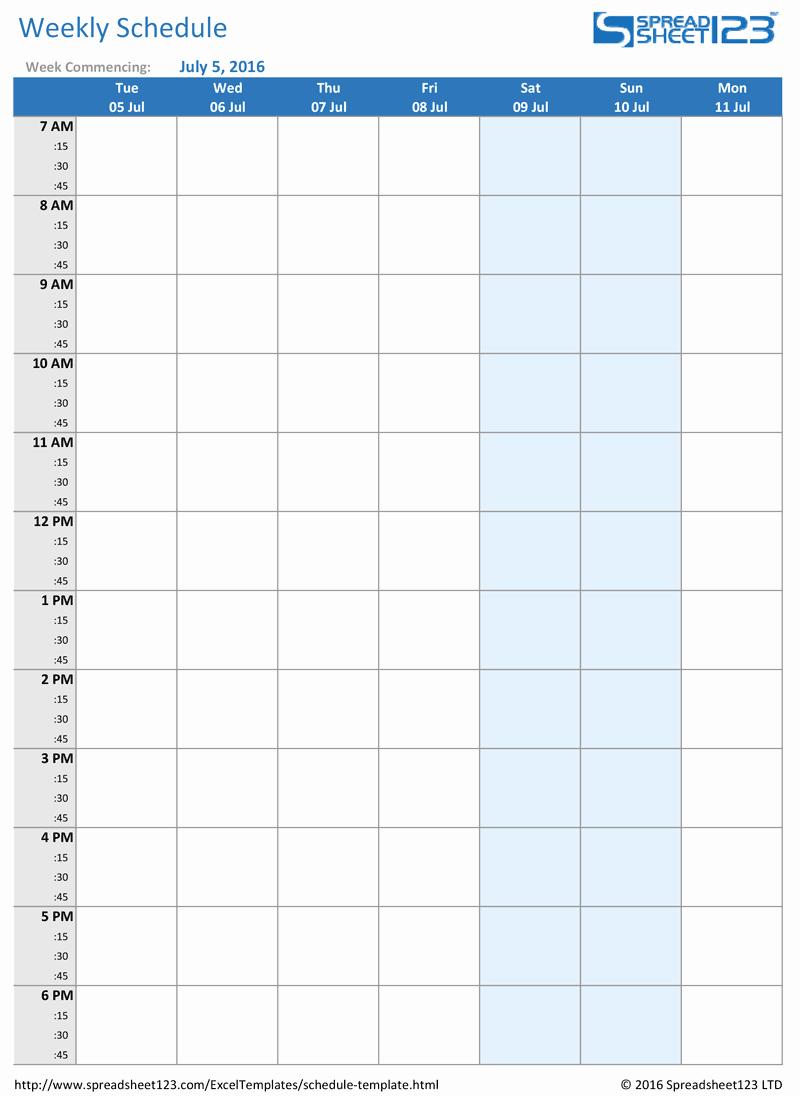 Weekly Schedule Template Printable Elegant Printable Weekly and Biweekly Schedule Templates for Excel