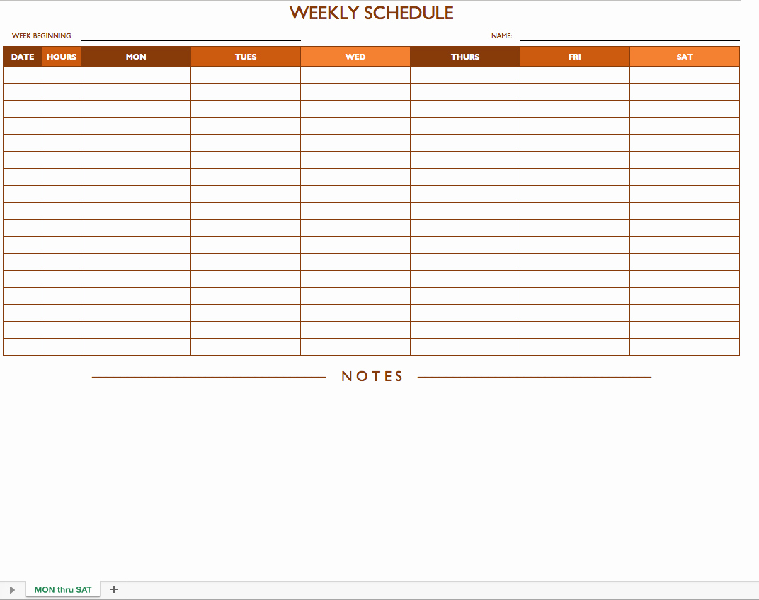 Weekly Schedule Template Printable New Free Work Schedule Templates for Word and Excel