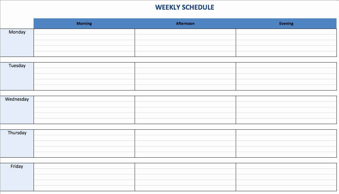 Weekly Schedule Templates Excel Awesome Free Excel Schedule Templates for Schedule Makers