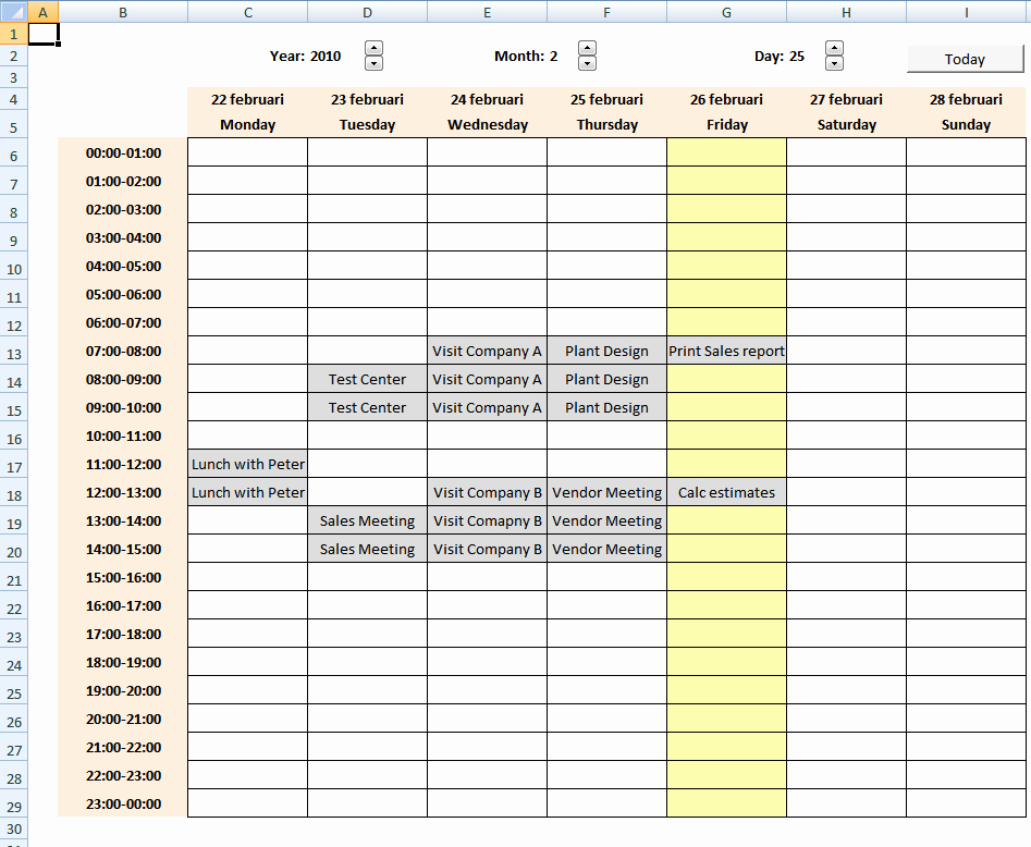 Weekly Schedule Templates Excel Beautiful Calendar with Scheduling [vba]