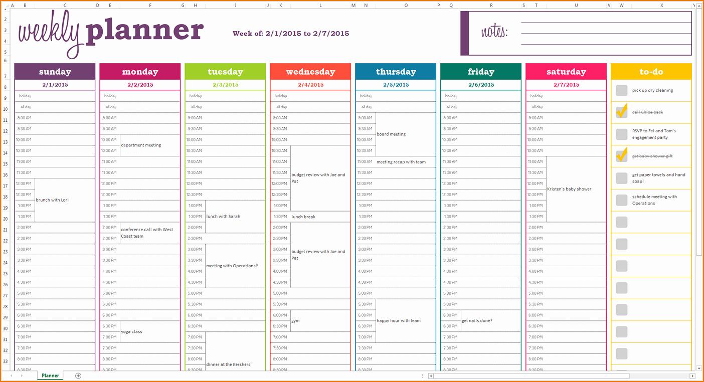 Weekly Schedule Templates Excel Best Of 5 Weekly Planner Template Excel