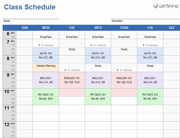Weekly Schedule Templates Excel Best Of Weekly Class Schedule Template for Excel