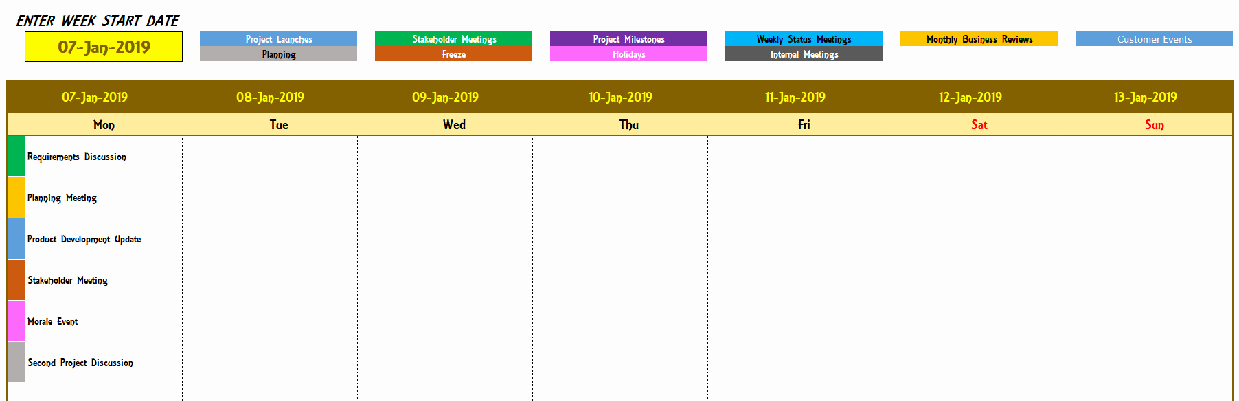 Weekly Schedule Templates Excel Lovely Excel Calendar Template Excel Calendar 2019 2020 or Any