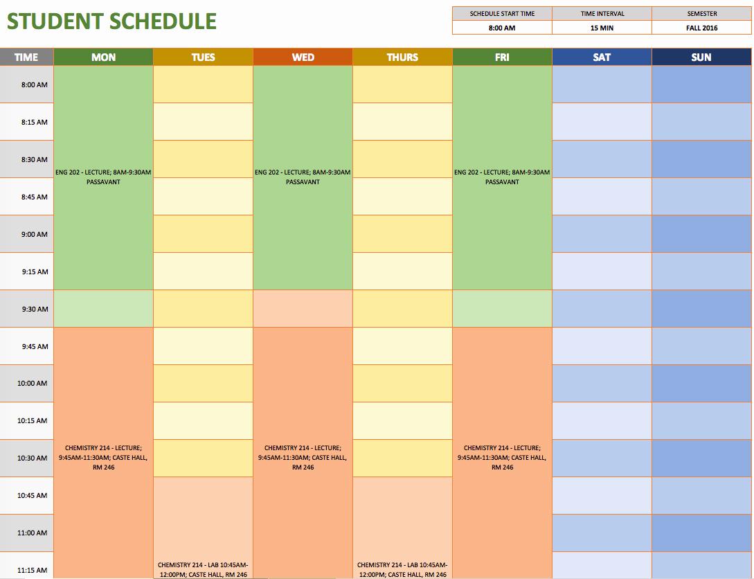 Weekly Schedule Templates Excel Unique Free Weekly Schedule Templates for Excel Smartsheet