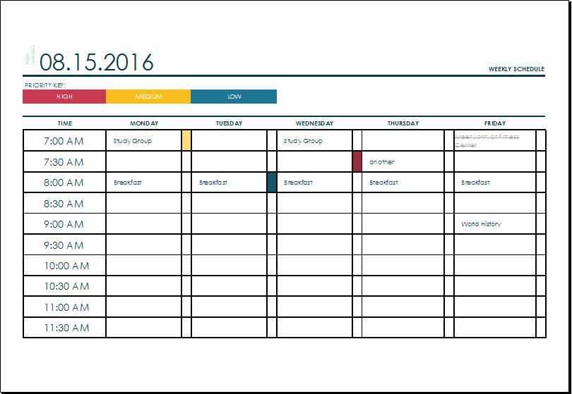 Weekly Schedule Templates Excel Unique Ms Excel Weekly College Tasks Schedule Template