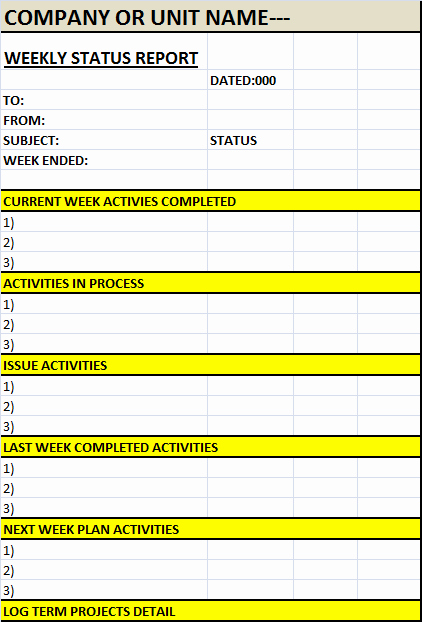 Weekly Status Report Template Lovely Weekly Status Report Template – Excel Word Templates