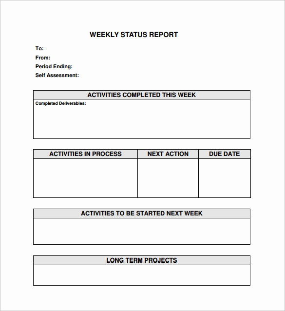 Weekly Status Report Template New 16 Sample Weekly Status Report Templates Pdf Word
