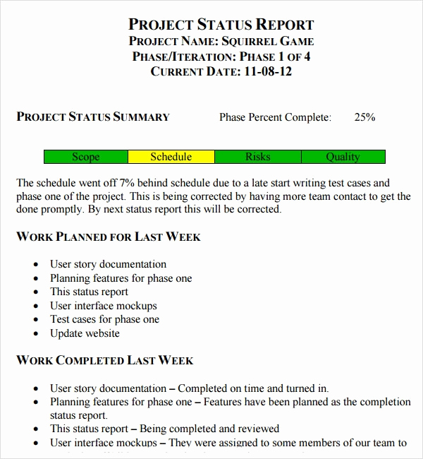 Weekly Status Report Template New Project Status Report Template 8 Download Free