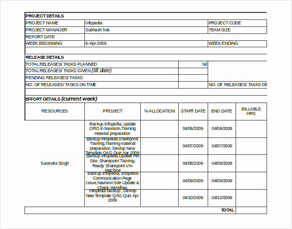 Weekly Status Report Template New Status Report Template 13 Free Word Documents Download