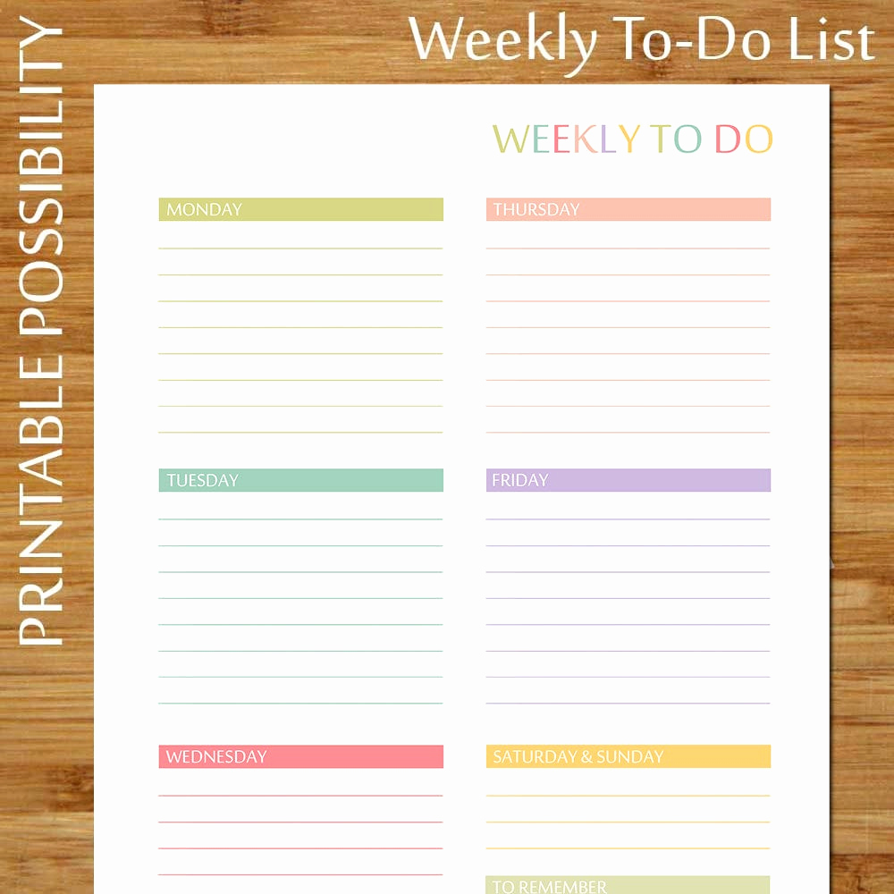 Weekly to Do List Printable Unique Printable Weekly to Do List Pastels Colorful Weekly to Do