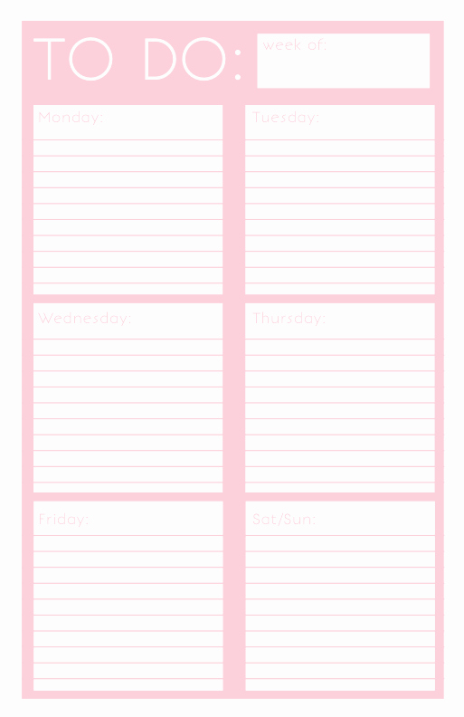 Weekly to Do List Templates Beautiful 40 Printable to Do List Templates