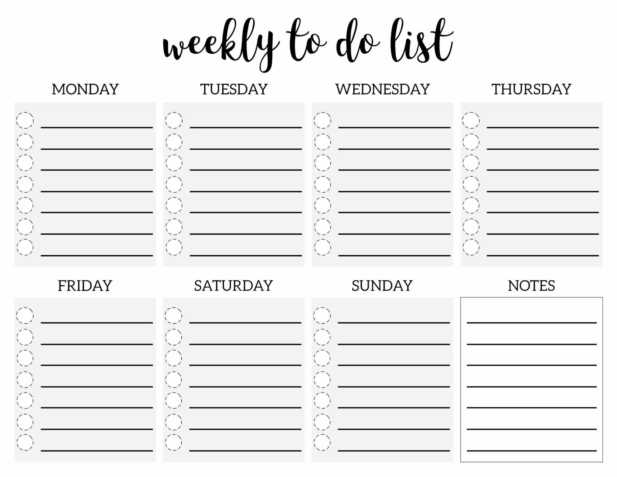 Weekly to Do List Templates Best Of Weekly to Do List Printable Checklist Template Paper