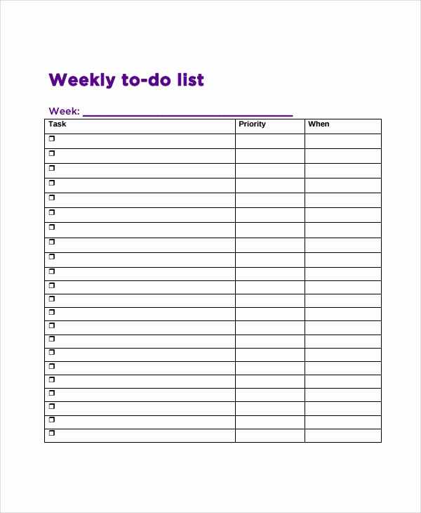 Weekly to Do List Templates Elegant Sample Weekly to Do List Template 8 Free Documents