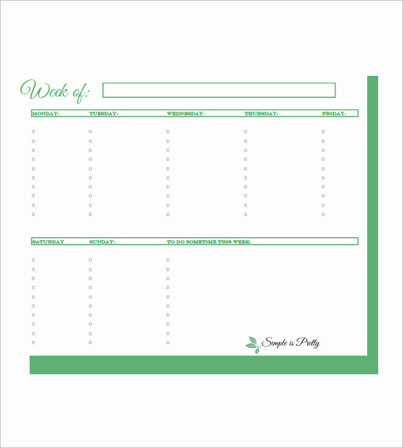 Weekly todo List Template Elegant Weekly to Do List Template 6 Free Word Excel Pdf