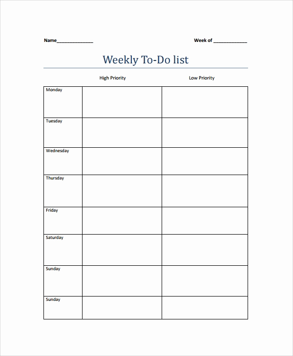 Weekly todo List Template Fresh Sample Weekly to Do List Template 8 Free Documents