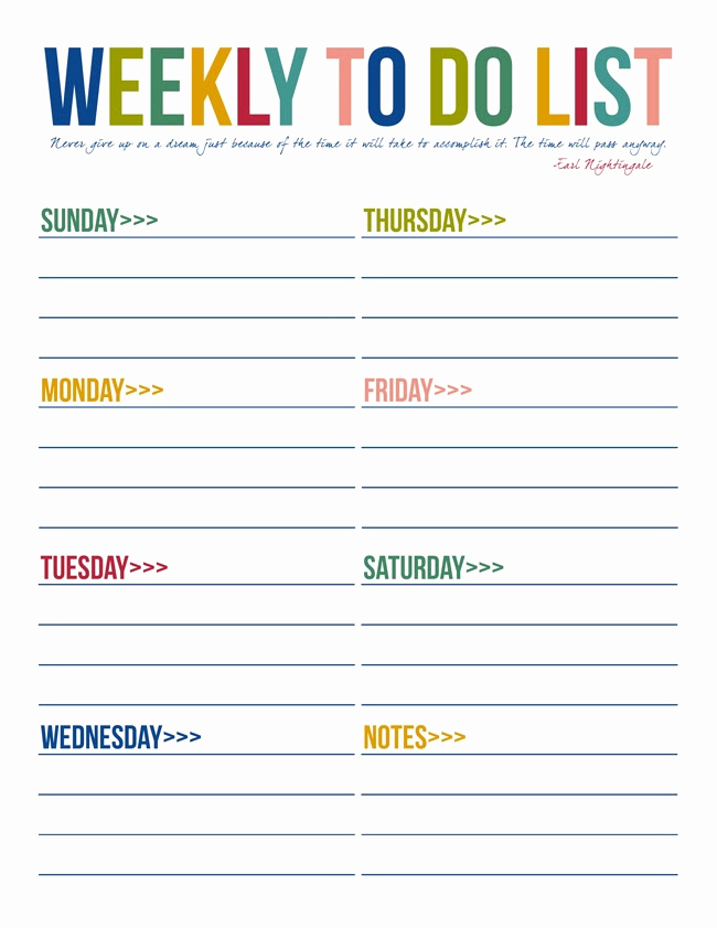 Weekly todo List Template Lovely 40 Printable to Do List Templates