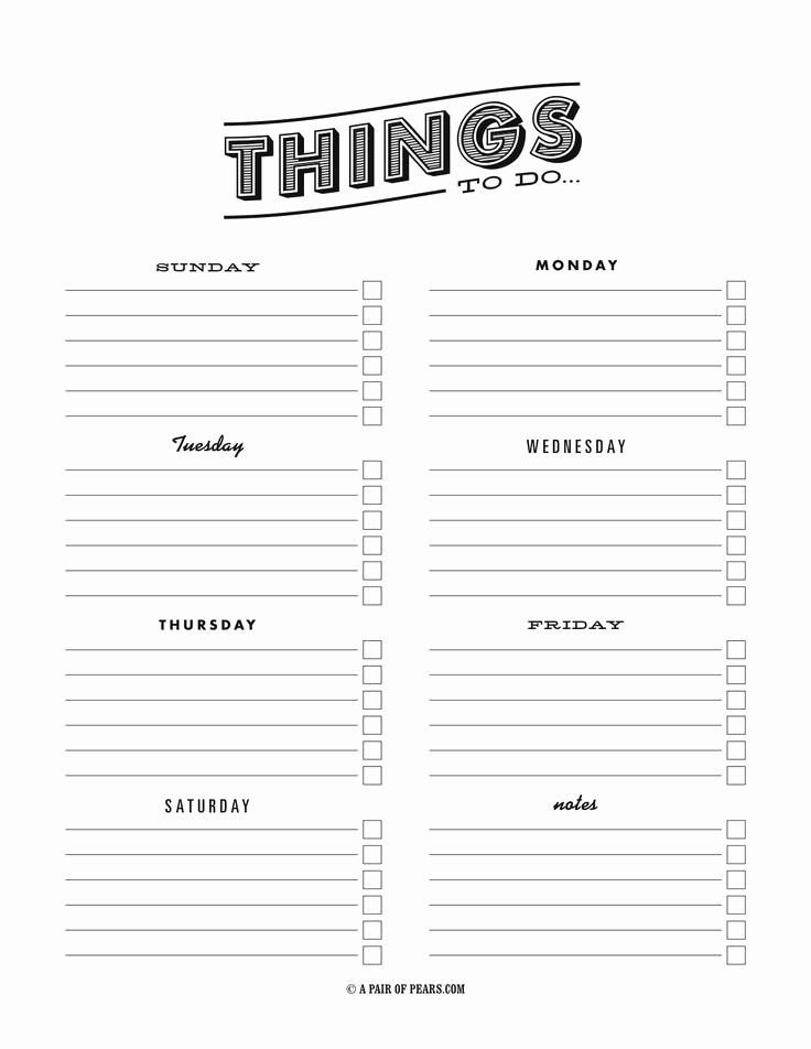 Weekly todo List Template New Weekly to Do List Template Pdf