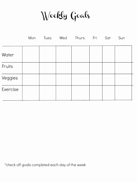 Weight Loss Goal Chart Fresh Easy Goal Sheet for Aiding Weight Loss
