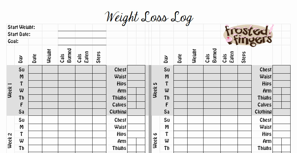 Weight Loss Measurement Chart Beautiful Weight Loss Log Frosted Fingers