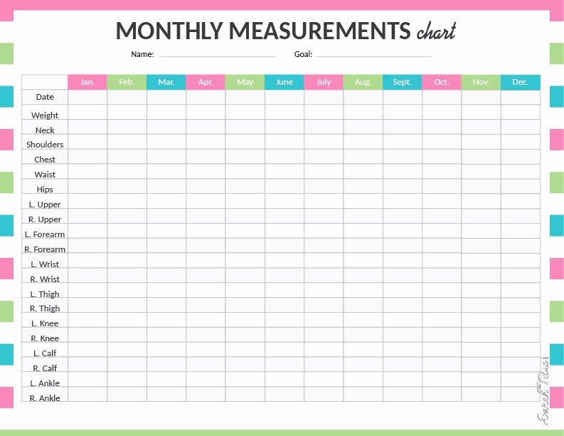 Weight Loss Measurement Chart Lovely Medical Binder My Measurements Chart Sarah Titus