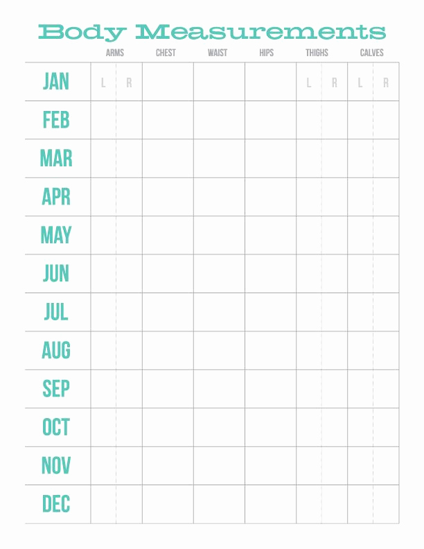 Weight Loss Measurement Chart New Monthly Body Measurements Chart