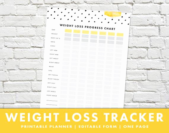 Weight Loss Progress Chart Lovely Weight Loss Progress Chart Editable form by thebusymousestudio