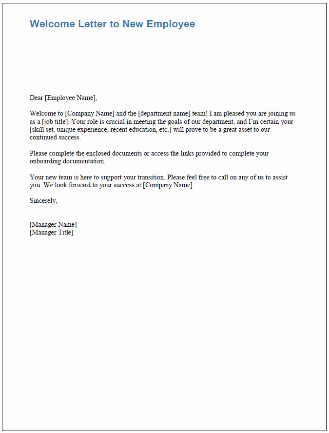 Welcome Letter to New Employee Awesome Free Boarding Checklists and Templates