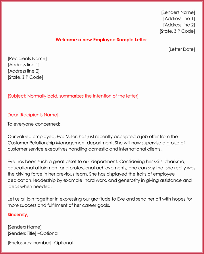 Welcome Letter to New Employee Awesome Wel E Letter Templates 20 Printable Samples & formats