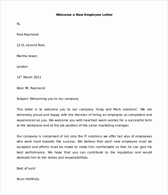 Welcome Letter to New Employee Beautiful 21 Hr Wel E Letter Templates Doc Pdf