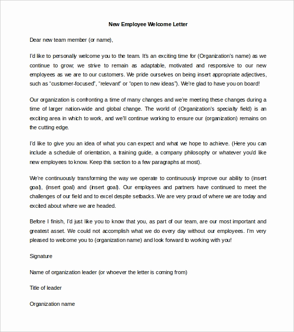 Welcome Letter to New Employee Luxury 21 Hr Wel E Letter Templates Doc Pdf