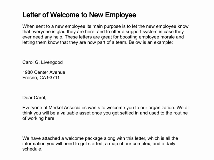 Welcome Letter to New Employee Luxury Letter Of Wel E