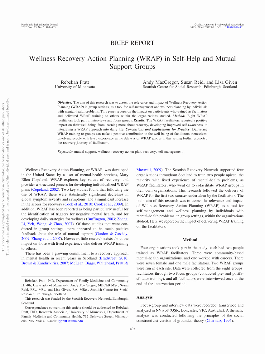 Wellness Recovery Action Plan Pdf Awesome Pdf Wellness Recovery Action Planning Wrap In Self