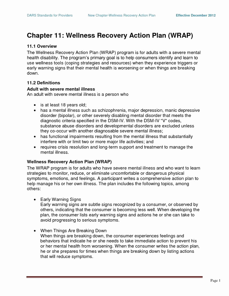 Wellness Recovery Action Plan Pdf Awesome Wrap Mental Health