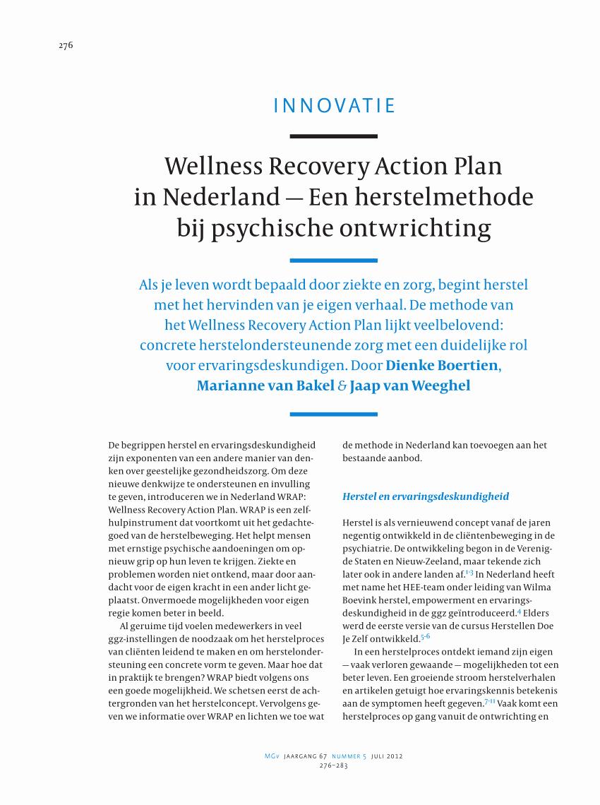 Wellness Recovery Action Plan in Nederland Een herstelmethode bij psychische ontwrichting