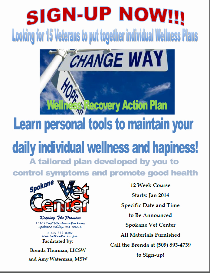 Wellness Recovery Action Plan Pdf Fresh Spokane Vet Center Wants to Help with Your Wellness Action