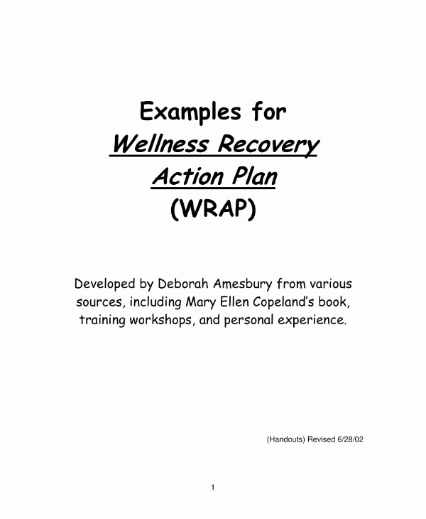 Wellness Recovery Action Plan Pdf Unique 10 Wellness Recovery Action Plan Templates Pdf