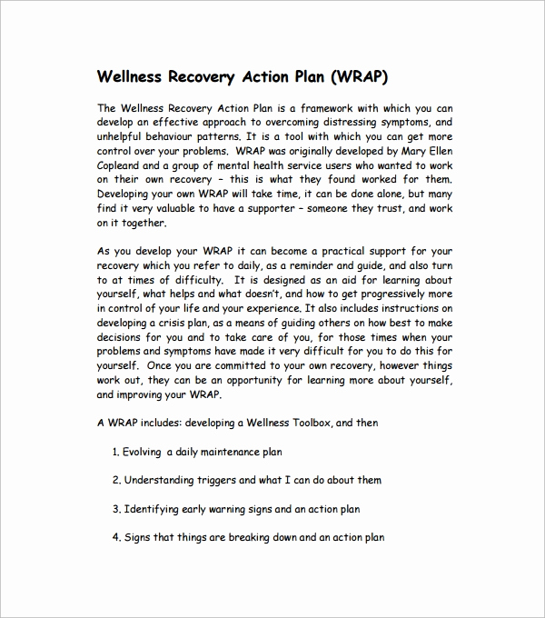 Wellness Recovery Action Plan Pdf Unique Sample Action Plan Template Download Free Documents In