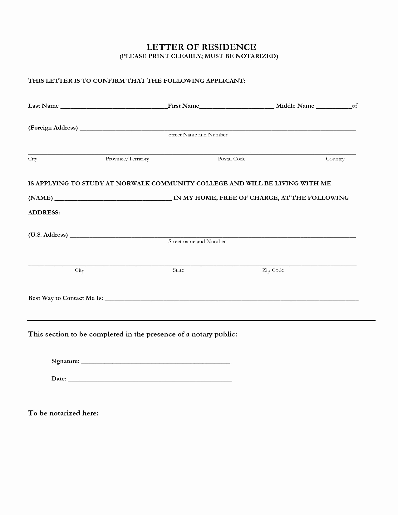 What is A Notarized Letter Awesome Proof Residency Letter Notarized Template Samples