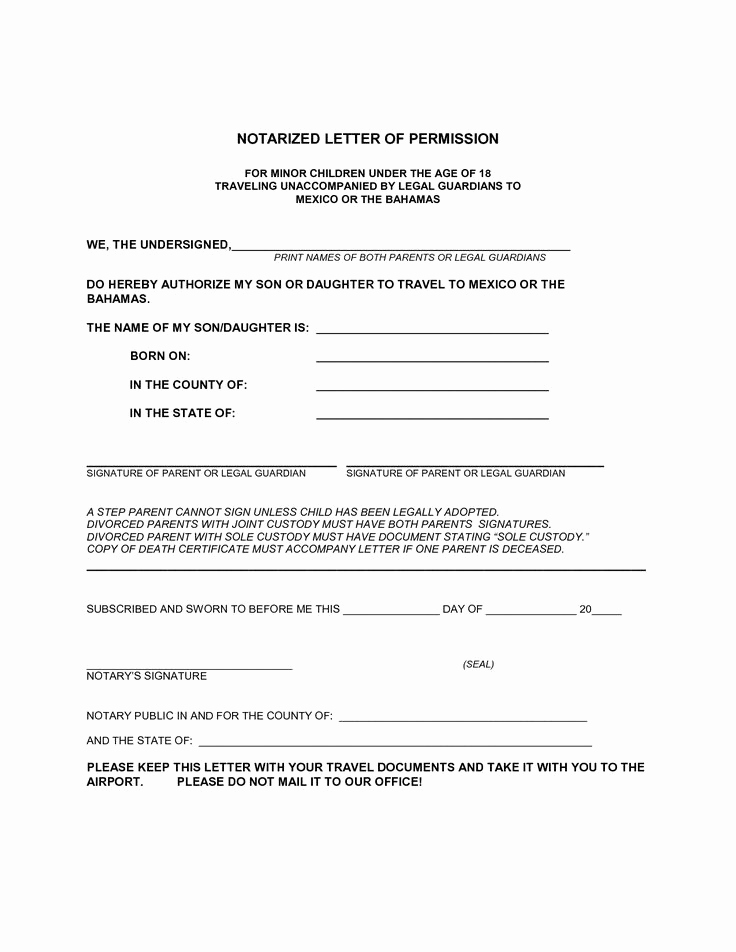 What is A Notarized Letter Beautiful Letter Of Permission to Travel