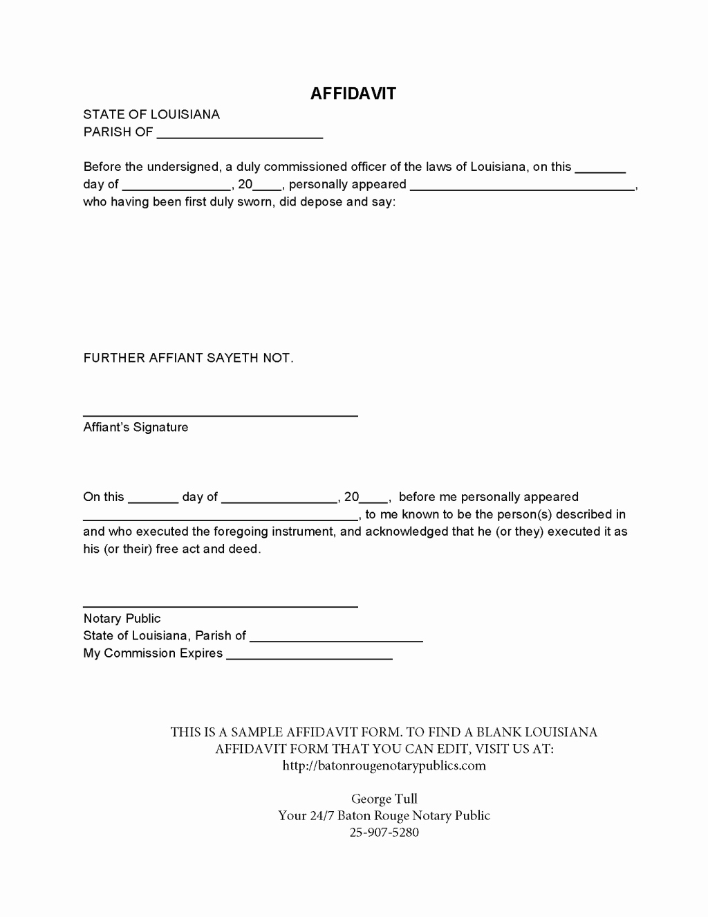 What is A Notarized Letter Best Of Perfect Affidavit form Template Sample with Affiant