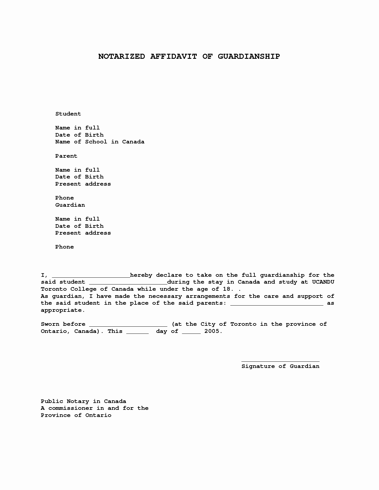 What is A Notarized Letter Elegant Notarized Letter for Guardianship Template Collection
